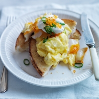 Soft-­‐Scrambled  Eggs  with  Smoked  Sablefish::